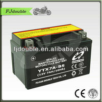 sealed YTX7A-BS mf motorcycle battery 12v7ah/rechargeable lead acid battery/motorcycle parts