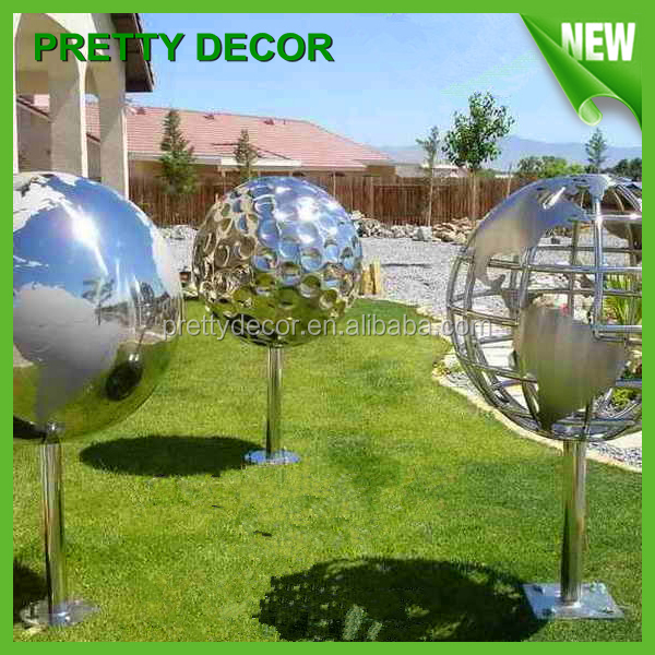 Landscape stainless steel hollow globe sculpture sphere