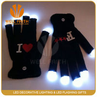 7 Mode Flashing led Finger Light Up Led Gloves, rave Party glow Gloves Mittens Glow Mitt Black
