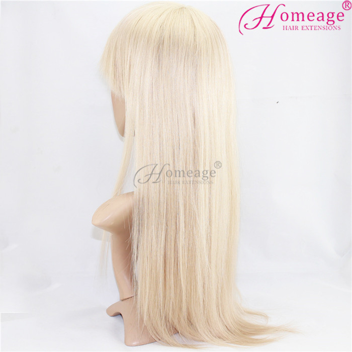 Homeage machine made long blonde human hair wig for white women