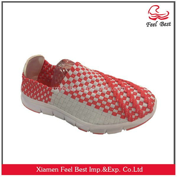 Women's Breathable Woven Elastic Checkered Pattern Casual Shoes