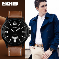 New fashion mens Date Leather Stainless Steel military Sport Quartz wrist watch strap