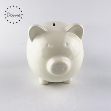 Wholesale ceramic crafts painting white cermic piggy bank
