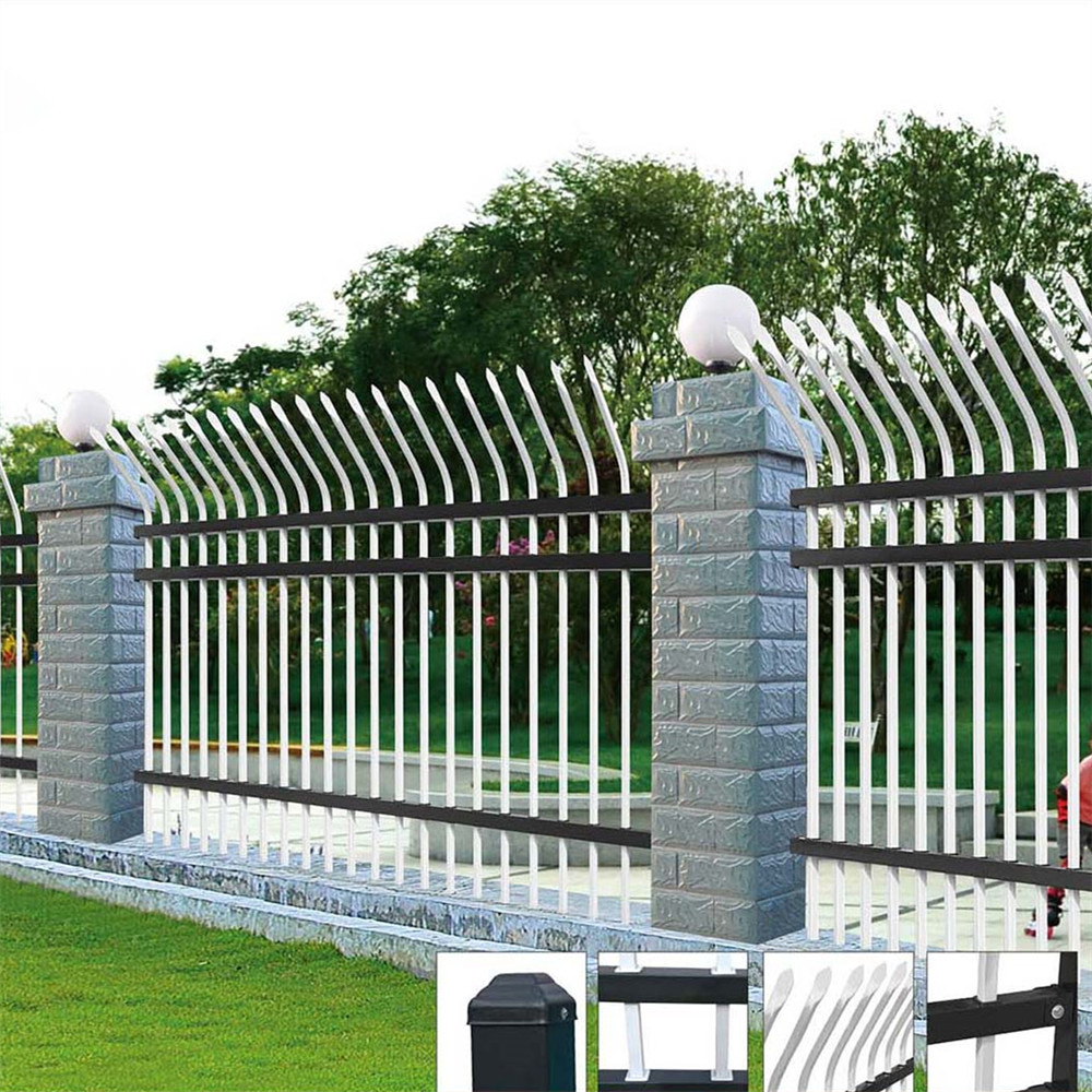 Cheap security palisade curved top steel fence panels