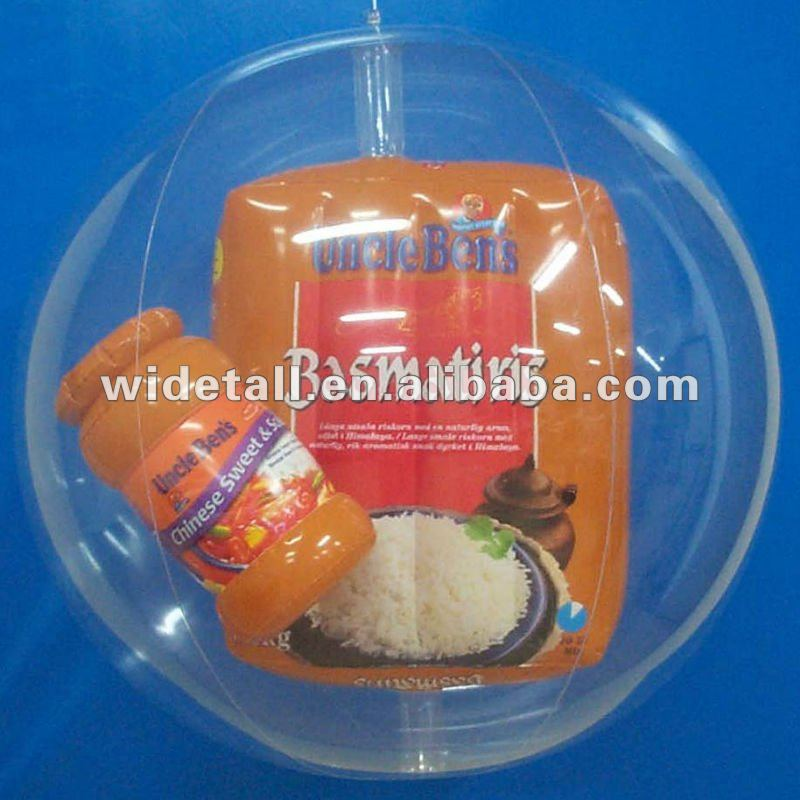 transparent box in water and beach ball , pvc inflatable promotional adversing ball