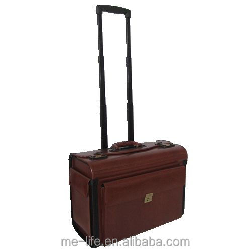 New Products wheeledTrolley Leather Pilot Case OEM China factory