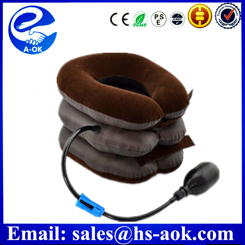 A-OK half flannel neck travel pillow three layers adjustable air pump neck traction