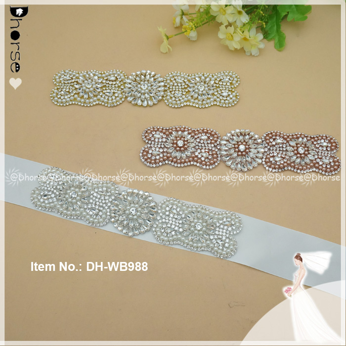 By Piece Rhinestones Appliques For Wedding Dresses Belt Bridal Sashes Rose Gold Silver Crystal Sewing On Rhinestones Bridal Sash