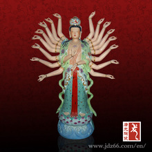 Goddess of Mercy with a Thousand Ceramic Hand Art Sculpture