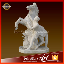 Hand Carved Life-size Famous Marble horse and man Statue