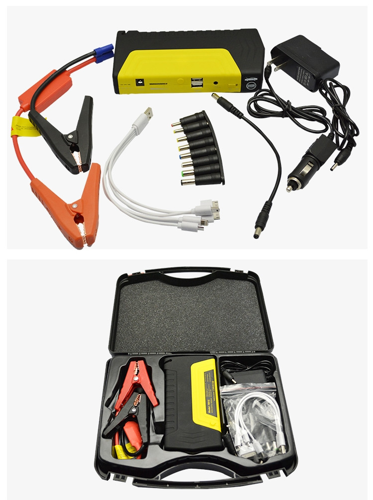 Emergency hammer Safety knife Dual-USB port Three LED light comprehensive portable jump starter power pack battery booster