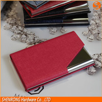 Very beautiful rose red color business card case with PU leather and stainless steel as gift for lady