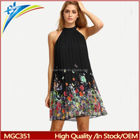 high quality wholesale China pleat style halter neck clothes summer beach dress for women