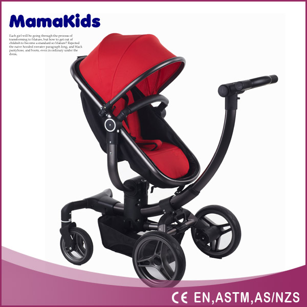 baby stroller 3-in-1 with big wheels, aluminium tube with car seat en certificate approval