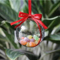 birthday Easter craft ball,2 part Christmas Baubles,7cm Clear Plastic ball