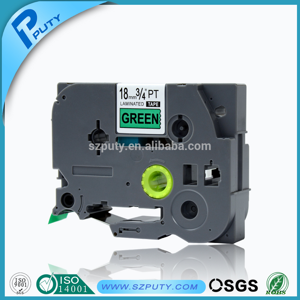 Compatible Laminated P-touch tape TZ741 TZ-741 TZ 741 Black on Green cassette ribbons