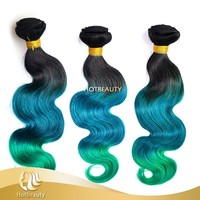 2015 new arrival fashion brazilian virgin hair with natural black, blue and green 3 tone color