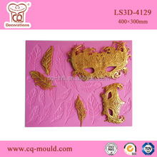 fondant cake decoration cake feathers and mask lace lat silicone mould
