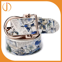 ladies custom printed high quality pu strong leather belt for jeans
