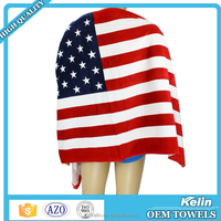 Promotional item reactive printing 30x60'' cotton USA flag beach towel