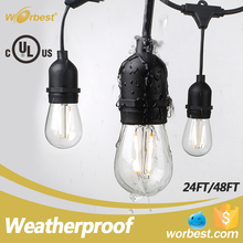 Hanging E26 Style Filament Bulbs , Weatherproof Led String Lights Outdoor