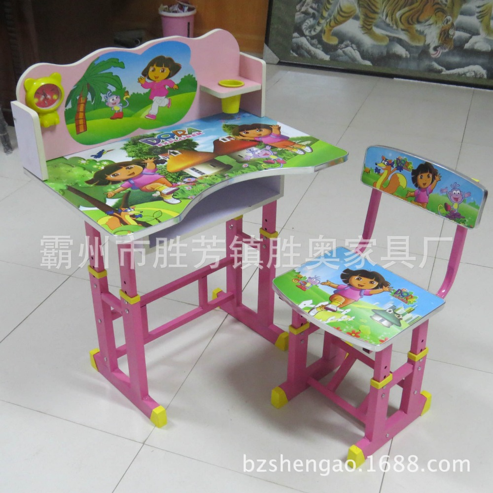 BZshengao X6 wooden kids study table and chairs with Dora picture