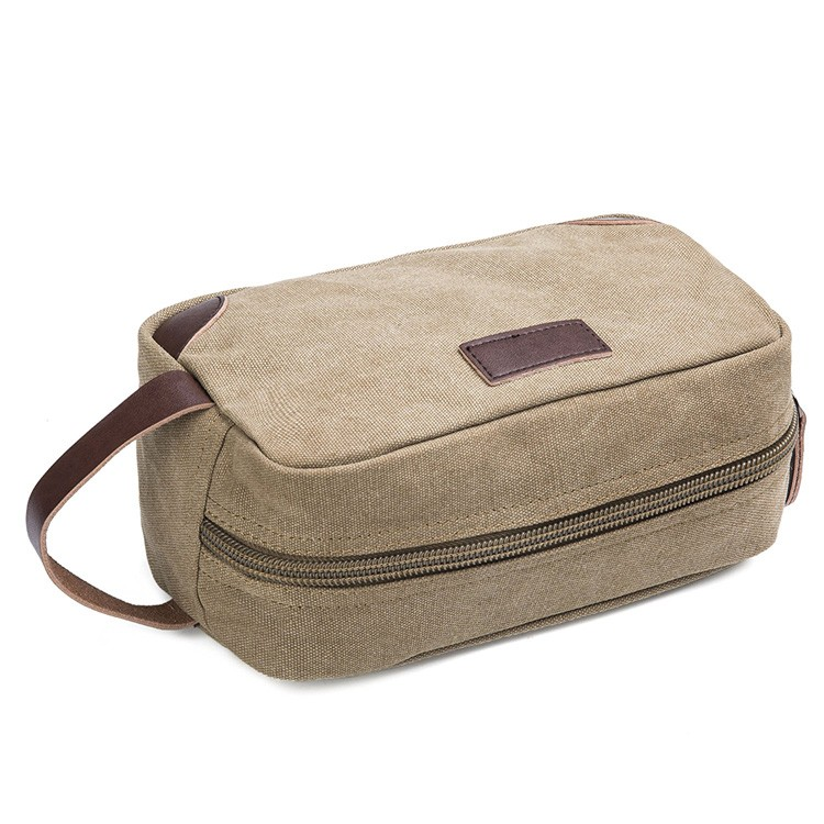 CT867 Canvas Leather travel toiletry cosmetic makeup bag For Men