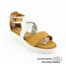 Factory direct sale top quality casual stylish buckles design ankle cross strap pvc shoes fashion sandal 2015