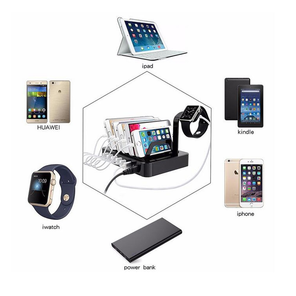Multi usb charging for mobile devices cell phone tablet 6 usb charging station