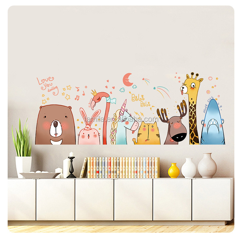 Kids Cartoon Wall art kids sticker wallpaper Bear/Unicorn/Flamingo/Shark/Giraffe cartoon stickers