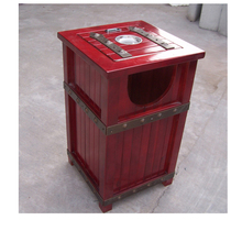 Antique Arlau Outdoor Furniture, Outdoor Wooden Recycling Park Garbage Can Trash Bin Trash Can Decorative Waste Bin
