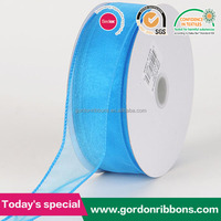 BLUE ORGANZA RIBBON THICK WIRE 25 YARDS