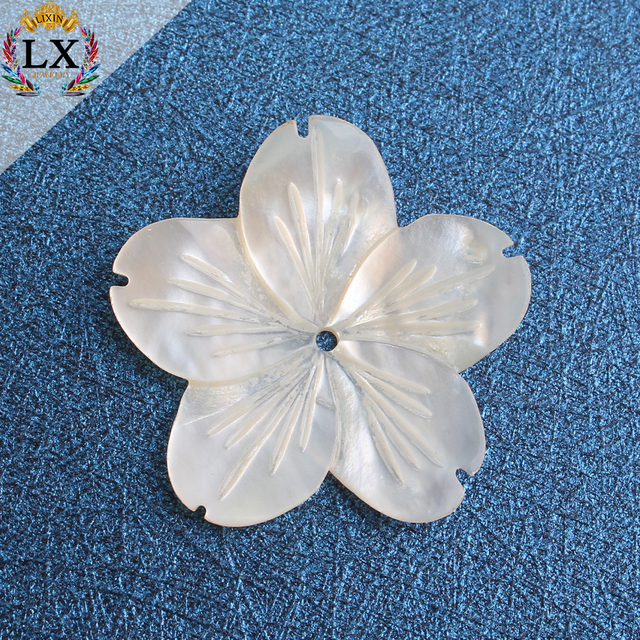 SLX-00003 carved shell beads loose 25mm drilled freshwater earrings white large shell flower shell beads for jewelry making