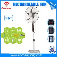 16inch standing rechargeable cheap floor fan with led light battery standing fan