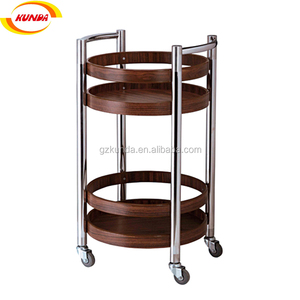 hotel stainless steel wooden liquor wine service trolley beverage cart serving trolley B-103