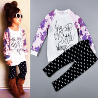 2-6Y 2015 Fashion Autumn Spring Baby Girls Clothing Set 2 Pieces Kid Flower Letter Sweatshirt + Bow Pants Children Clothes Set