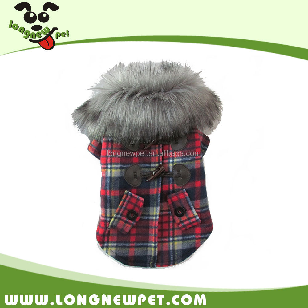 Checked Winter Clothes Fleece Lined Small Dog Coat with Fur Collar