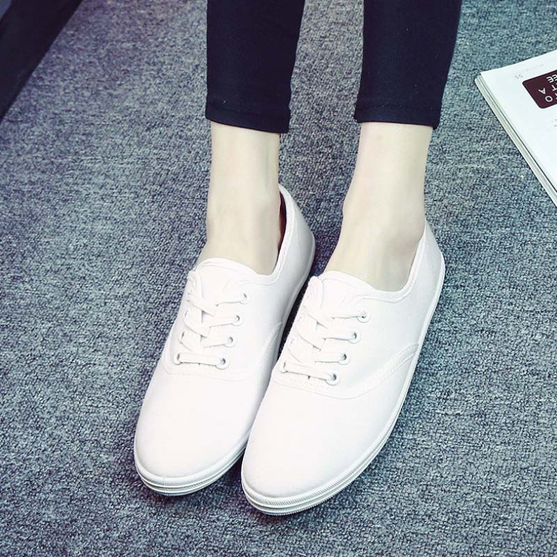 SAA1188 Korean style women's flat plain white canvass shoes size 35-42