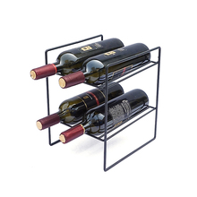 Wine Collection Display Stand 4 Bottle Free Standing Wrought Iron Metal Wine Rack