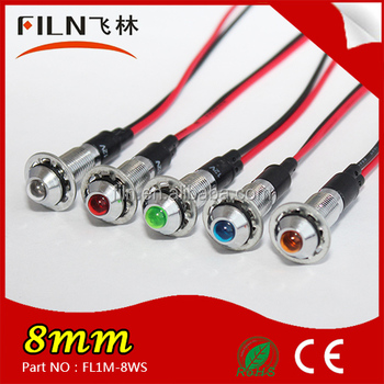 6mm8mm10mm 12mm 16mm 19mm 22mm120v brass stainless IP68 waterproof new signal pilot indicator lamp light with wire