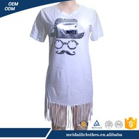 Tassel Rivet Extra long Custom Ladies New White T shirt design
