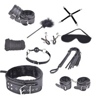 China supplier customized 10 pcs set bondage male sex toys with handcuffs and gag