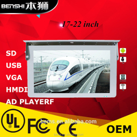 "17""18""19""21"" led 3g/4g/wifi car tv ceiling screen car roof mount lcd monitor with tv"