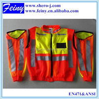 EN 471 hi vis reflective motorcycle vest removable sleeves vest