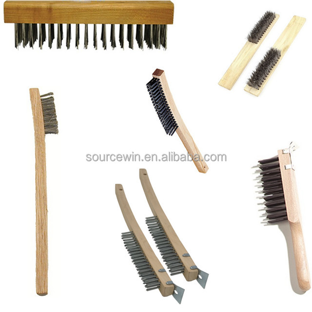 Wood Handle Stainless Steel Wire Scratch Zinc Steel Wire Industrial Brush for rust cleaning
