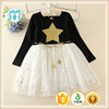 child dress 2017 black dress with star pattern children chiffon clothes tulle baby girls dresses