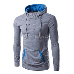 men's buttons two colors contrast ribbed kangaroo pocket hoodies