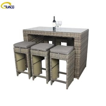 Hot selling outdoor patio aluminum rattan bar table