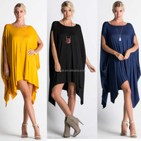 Plus Size Women Clothing Latest Solid Jersey Knit Dress Patterns Ladies Wholesale PONCHO Smocked Dresses