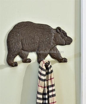 cast iron hook with bear design use for home wall decoration